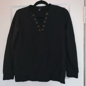 Long sleeve front lace jumper